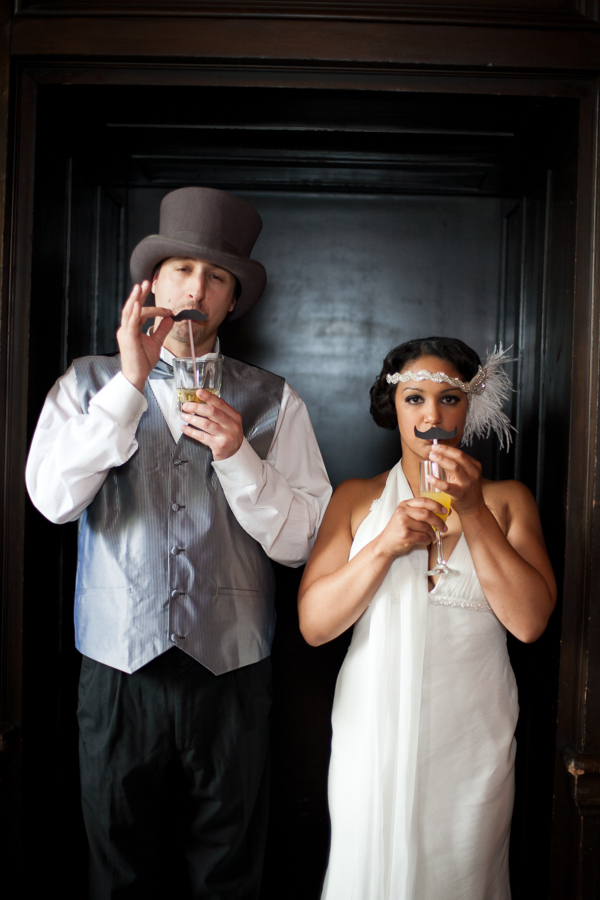 Bunn Salarzon - bride and groom drinking from mustache straws