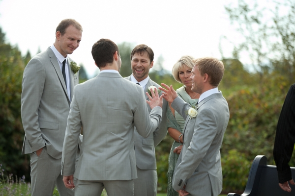 Bunn Salarzon - groom laughing with groomsmen before wedding ceremony