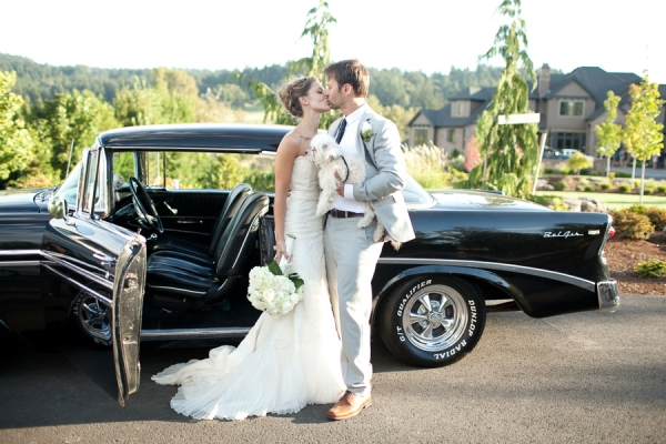 Bunn Salarzon - bride and groom kissing by chevrolet bel air