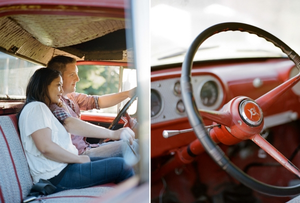 Bunn Salarzon - girl and guy sitting in old red ford truck