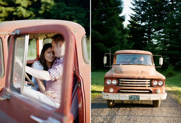 Bunn Salarzon - woman and man sitting in old red ford truck