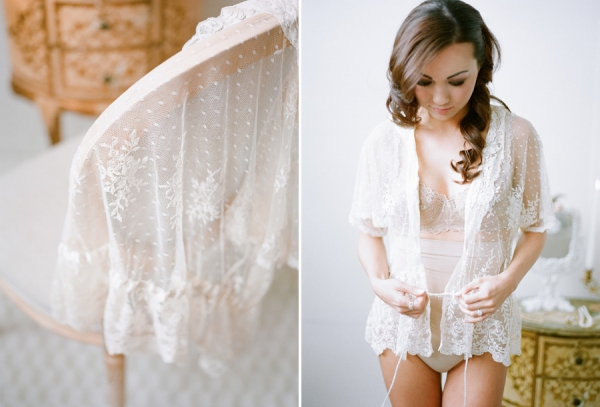 Bunn Salarzon - white lace robe for bridal boudoir pictures