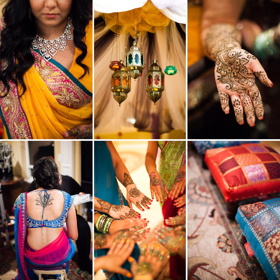 Bunn Salarzon - indian bride wearing gold sari and henna tattoos